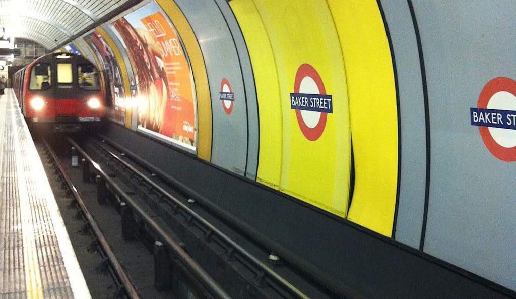 Tube entering London Underground  Station