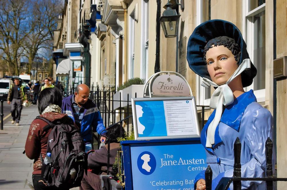 Outside the Jane Austen Centre in Bath, England