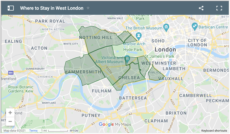Where to Stay in West London Map